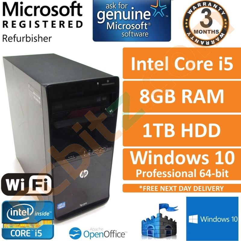 HP Pro 3500 MT Quad Core i5-3470 3 20GHz, 8GB, 1TB, Windows