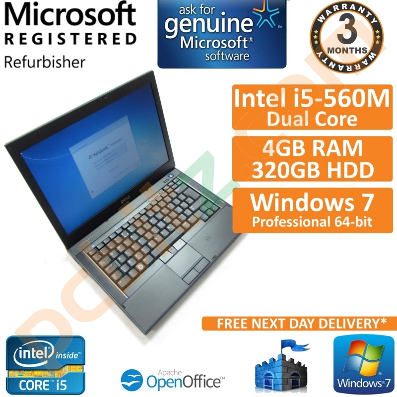 Dell Latitude E6410 Core i5-560M 2 67GHz 4GB 320GB Windows 7 Pro