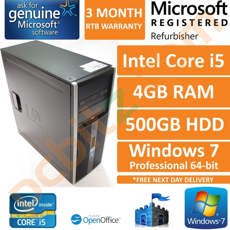 HP Compaq 8100 Elite Core i5 3 33GHz, 4GB, 500GB HDD Windows 7 Pro