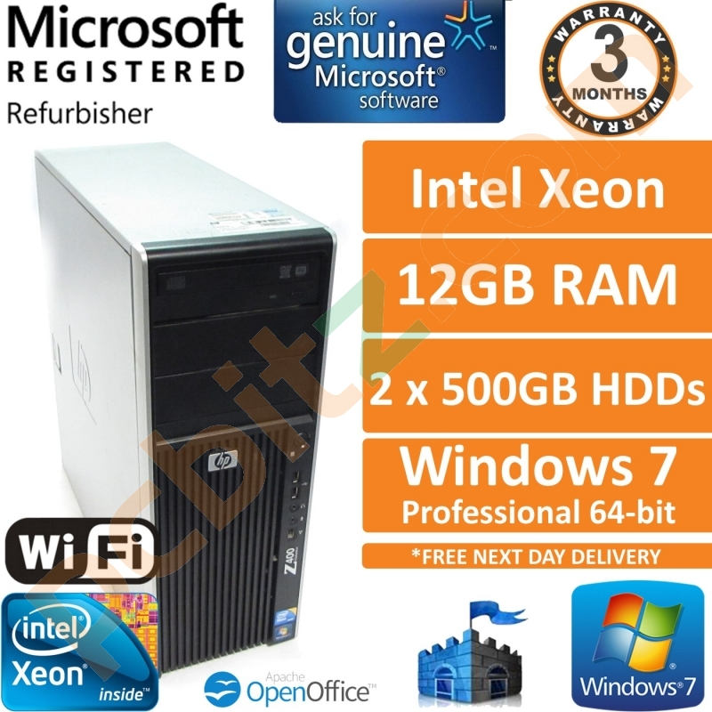 HP Z400, Intel Xeon W3505 2 53GHz, 12GB RAM, 2x500GB HDD, Win 7 Pro