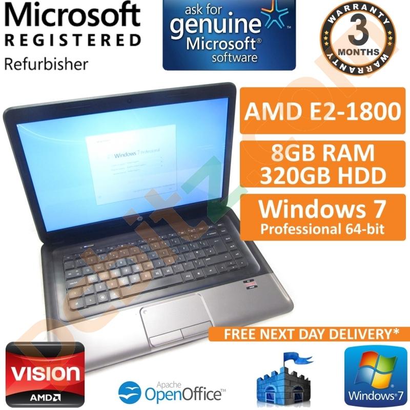 "HP 655 AMD E2-1800 1.70GHz 8GB 320GB Windows 7 Pro Radeon HD 7340 15.6""  Laptop Refurbished Laptops"
