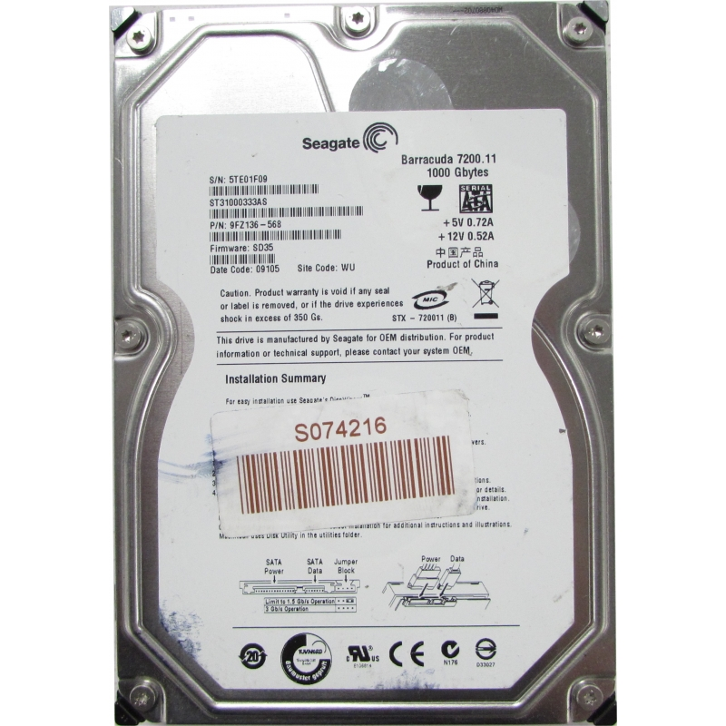 Seagate Barracuda 7200.11 ST31000333AS HDD Treiber Windows 7