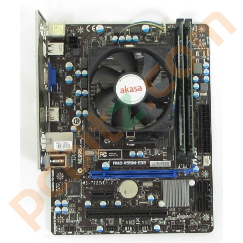 msi ms-7721 ver 2 3 fm2-a55m-e33 motherboard + amd a4-5300 3 4ghz + 8gb  bundle b