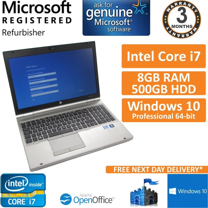 HP EliteBook 8560p Core i7-2640M 2 8GHz 8GB 500GB Windows 10 Pro