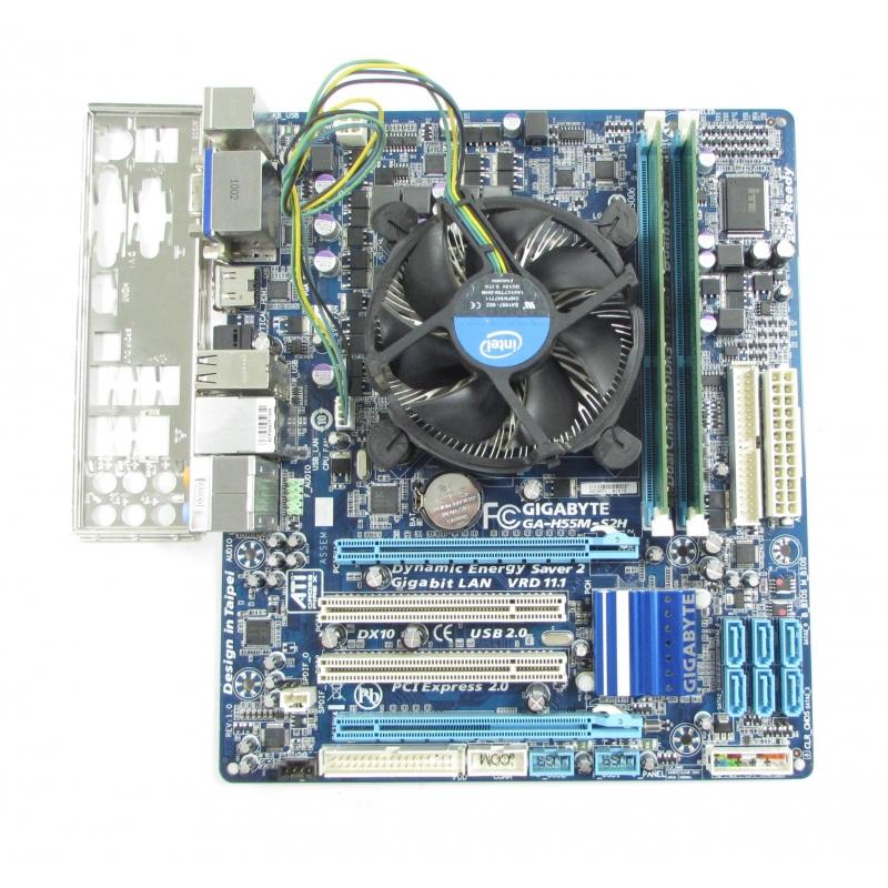 Gigabyte GA-H55M-S2H REV 1.0 LGA1156 Motherboard, Core i3-530, 8GB