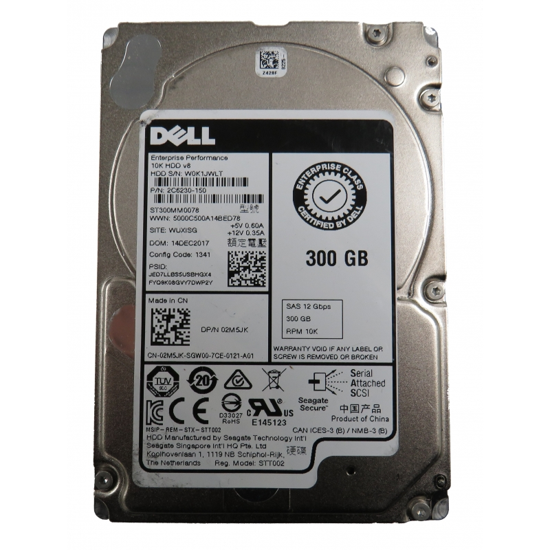 "2.5/"" New Dell Hard Drive 10K RPM ST300MM0078 Exos 10E300 300GB SAS"
