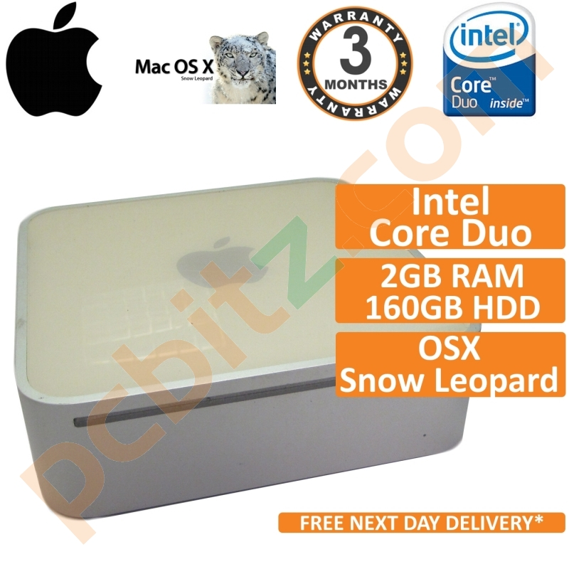 Apple Mac Mini A1176 Core Duo 1 83GHz 2GB 160GB OSX 10 6 Snow