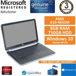 HP Pavilion TS 15 A10-4655M, 8GB RAM, 750GB HDD, Dual Graphics, Win 10 Touch
