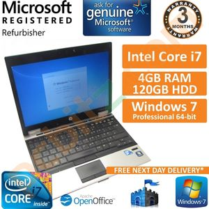 """HP EliteBook 2540p Core i7 2.13GHz 4GB 120GB Windows 7 Pro 12.1"""" Laptop (B)"""
