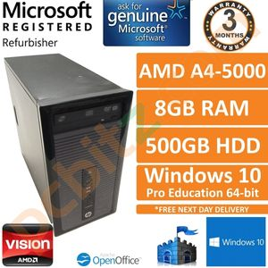 HP ProDesk 405 G1 AMD A4-5000 1.5GHz 8GB 500GB Windows 10 Pro EDU Desktop PC (B)