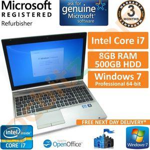 """HP EliteBook 8560p Core i7 2.8GHz 8GB 500GB Windows 7 Pro 15.6"""" Laptop (B)"""