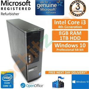 Dell Optiplex 3020 SFF, Core i3-4160 3.6GHz, 8GB, 1TB, Win 10 Pro Desktop PC