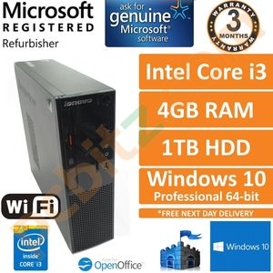Lenovo S500, Intel Core i3-4170 @ 3.7GHz, 4GB, 1TB, Windows 10, SFF Desktop PC