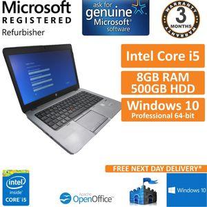 "HP EliteBook 840 G1, Core i5-4300u 1.9GHz, 8GB 500GB Windows 10 Pro 14"" Laptop"