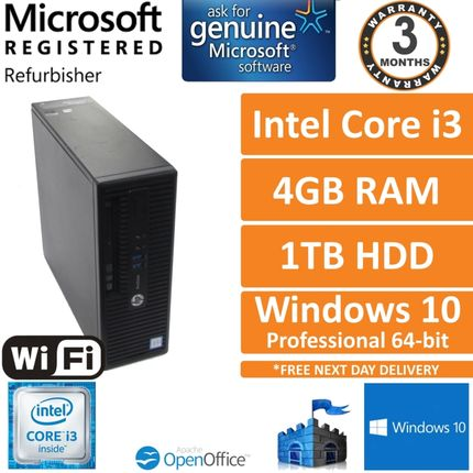 HP ProDesk 400 G3 SFF Intel Core i3-6100 3.7GHz 4GB 1TB Windows 10 Pro