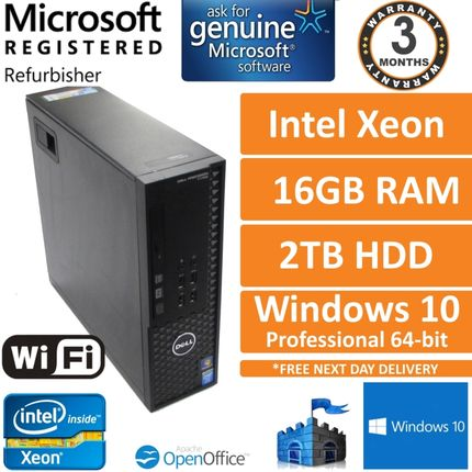 Dell Precision T1700, Xeon E3-1240 v3 3.4GHz, 16GB 2TB Win 10 Pro SFF Desktop PC