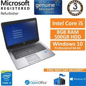 "HP EliteBook 840 G2, Core i5-5300u 2.3GHz, 8GB 500GB Windows 10 Pro 14"" Laptop"