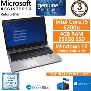 "HP ProBook 650 G2, Core i5-6200u @ 2.3GHz 8GB 256GB SSD Win 10 Pro 15.6"" Laptop"