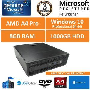 HP EliteDesk 705 G1 AMD A4 Pro 7300B @ 3.8GHz 8Gb 1TB Win 10 Pro Desktop