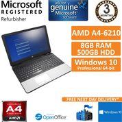 "HP 355 G2 AMD A4-6210 @ 1.80GHz 8GB 500GB Windows 10 Pro 15.6"" Laptop"