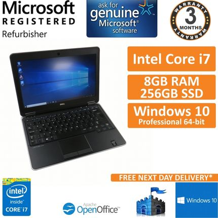 "Dell Latitude E7240, Core i7-4600u @ 2.1GHz, 8GB 256GB SSD Win10 12.5"" Grade C"