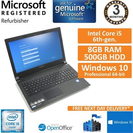 "Lenovo B51-80 Intel Core i5-6200U 2.3GHz 8GB 500GB Windows 10 Pro 15.6"" Laptop"