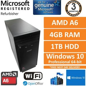 Acer Aspire TC-215 AMD A6-6310 @ 1.8GHz 4GB RAM 1TB HDD Win 10 Desktop PC