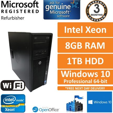 HP Z210 Workstation Xeon E3-1240@3.3GHz 8GB 1TB Windows 10 Desktop Tower PC