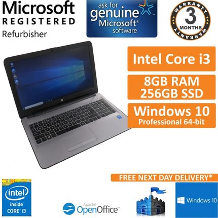 "HP 250 G5 15.6"" 1080p FHD Intel i3-5005U 2GHz 8GB 256GB SSD Win 10 Pro Laptop"