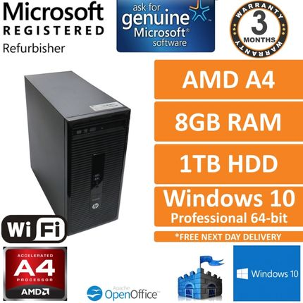 HP ProDesk 405 G2 MT, AMD A4-6250 J 2GHz 8GB 1TB Win10 Desktop PC