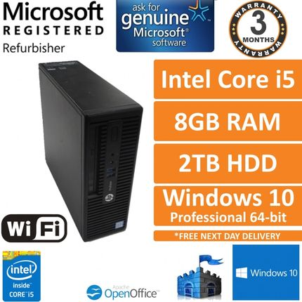 HP ProDesk 400 G3 SFF Intel Core i5-6500 3.2GHz 8GB 2TB Windows 10 Pro Desktop