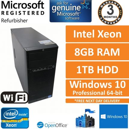 HP Proliant ML110 G7 Xeon E3-1220 @ 3.1GHz 8GB 1TB Win10 Pro Workstation PC