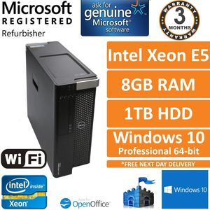Dell Precision T3600 Xeon E5-1603 @ 2.80GHz 8GB DDR3 ECC 1TB HDD Win 10 Pro
