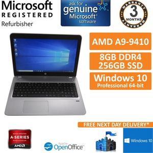 "HP ProBook 455 G4 AMD A9-9410 @ 2.9GHz 8GB 256GB SSD Win10 Pro 15.6"" Laptop B"