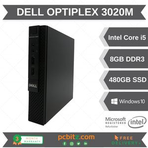 Dell Optiplex 3020M Core i5-4590T 2.0GHz 8GB 480GB SSD Win10 Pro Micro Desktop