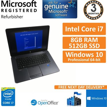 "HP ZBook 15u G2 Intel i7-5500u 8GB DDR3 512GB SSD M4170 Win 10 15.6"" Laptop B"