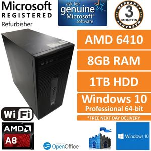 HP ProDesk 405 G2 MT, AMD A8-6410 @ 2GHz 8GB 1TB Win10 Desktop PC