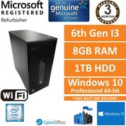 HP ProDesk 400 G3 MT Desktop Core i3-6100 3.2GHz 8GB DDR4 1TB HDD Windows 10 Pro