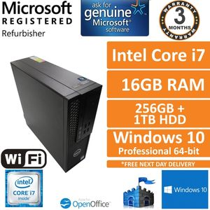 Dell Precision 3420 Core i7-6700 3.4GHz 16GB 256GB SSD + 1TB, Win 10 Pro SFF PC