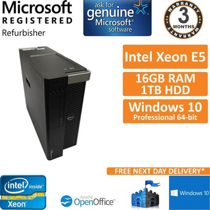 Dell Precision T3600 Xeon E5-1603 @ 2.80GHz 16GB DDR3 ECC 1TB HDD Win 10 Pro