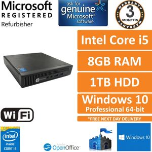 HP EliteDesk 800 G1 USFF Intel Core i5-4590T @ 2GHz 8GB 1TB Win 10 Pro Desktop