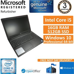 "Dell Vostro 3580 i5-8265U@1.6GHz 16GB DDR4 512GB SSD Win 10 Pro 15.6"" Laptop"