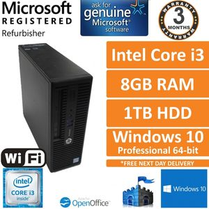 HP ProDesk 400 G3 SFF Intel Core i3-6100 @ 3.7GHz 8GB 1TB Windows 10 Pro Desktop
