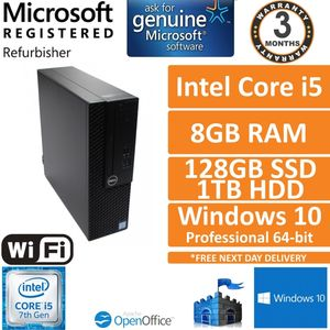 Dell Optiplex 3050 SFF Intel i5-7500 @ 3.4GHz 8GB 128GB + 1TB Win 10 Pro PC