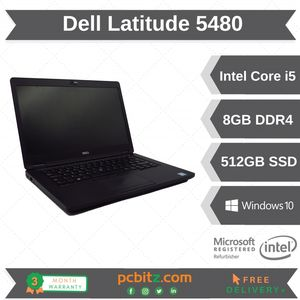 "Dell Latitude 5480 Core i5-7300U 2.6GHz 8GB DDR4 512GB SSD Win10 Pro 14"" Laptop"