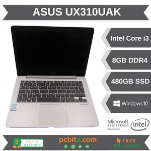 "ASUS UX310UAK Intel I3-7100U 2.4GHz, 8GB 480GB SSD 13.3"" Win 10 Pro   NO CHARGER"