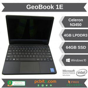 "GeoBook 1E Intel Celeron N3450 @ 1.1GHz 4GB 64GB SSD 11"" Win10 Pro Laptop"