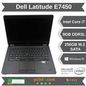 """Dell Latitude E7450 Core i7-5600U 2.6GHz, 8GB 256GB SSD Win10 14"""" Laptop"""